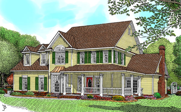 Country, Farmhouse House Plan 96825 with 4 Beds, 2 Car Garage Elevation