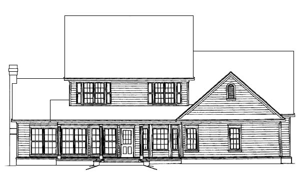 Country, Farmhouse House Plan 96825 with 4 Beds, 2 Car Garage Rear Elevation