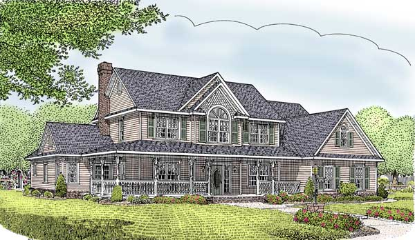 Country, Farmhouse House Plan 96828 with 5 Beds, 3 Baths, 2 Car Garage Elevation