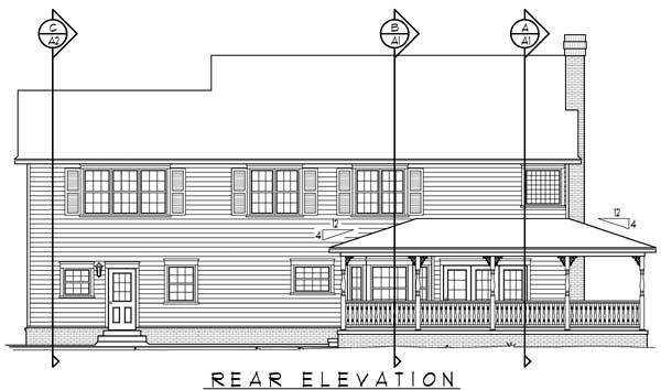 Country, Farmhouse House Plan 96829 with 4 Beds, 3 Baths, 2 Car Garage Rear Elevation