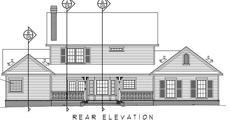 Country, Farmhouse House Plan 96833 with 4 Beds, 3 Baths, 3 Car Garage Rear Elevation
