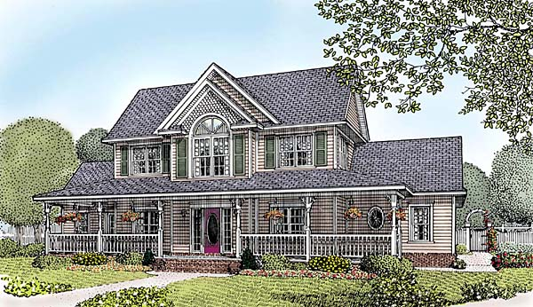Country, Farmhouse, Southern House Plan 96834 with 4 Beds, 3 Baths, 3 Car Garage Front Elevation