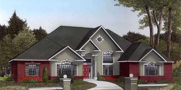 European House Plan 96835 with 3 Beds, 3 Baths, 2 Car Garage Elevation