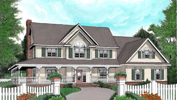 Country, Farmhouse House Plan 96837 with 4 Beds, 3 Baths, 2 Car Garage Front Elevation