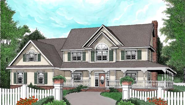 Country, Farmhouse House Plan 96838 with 4 Beds, 3 Baths, 3 Car Garage Front Elevation