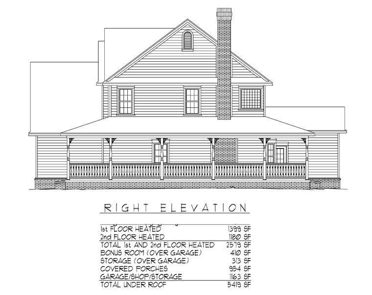 Country, Farmhouse House Plan 96838 with 4 Beds, 3 Baths, 3 Car Garage Picture 2