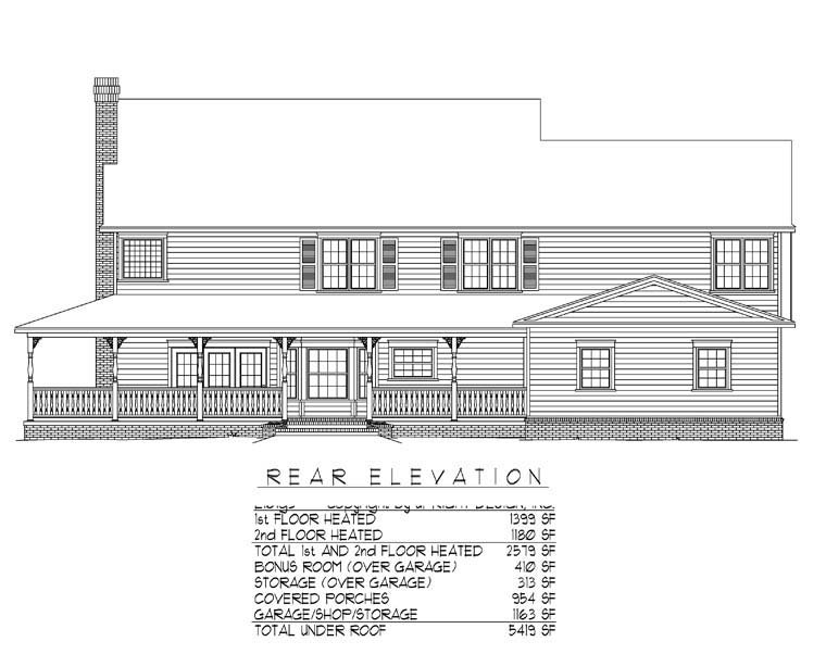 Country, Farmhouse House Plan 96838 with 4 Beds, 3 Baths, 3 Car Garage Rear Elevation