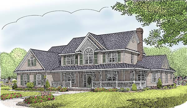 Country, Farmhouse House Plan 96839 with 5 Beds, 3 Baths, 3 Car Garage Elevation
