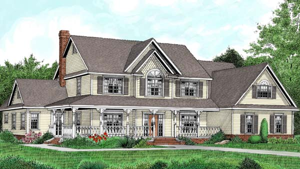 Country, Farmhouse House Plan 96840 with 5 Beds, 3 Baths, 2 Car Garage Front Elevation