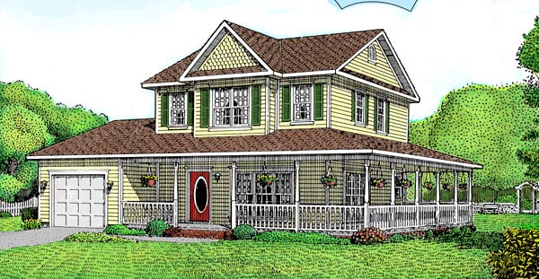 Country, Farmhouse House Plan 96844 with 3 Beds, 2 Baths, 2 Car Garage Elevation