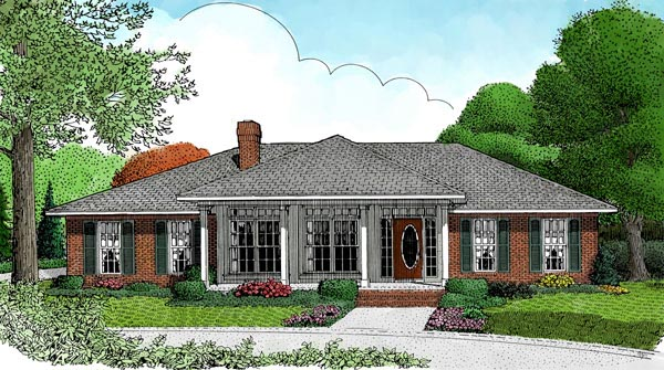 Traditional House Plan 96849 with 3 Beds, 3 Baths, 2 Car Garage Elevation