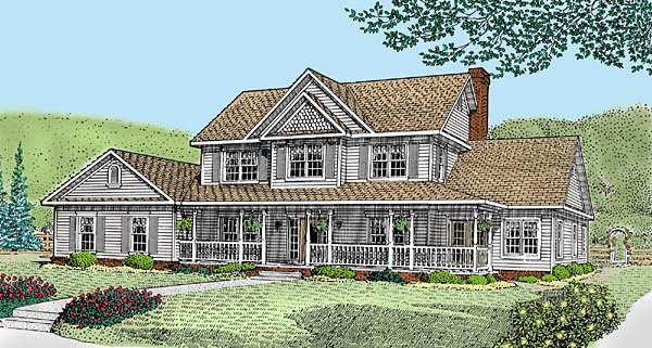 Country, Farmhouse House Plan 96870 with 4 Beds, 4 Baths, 2 Car Garage Elevation