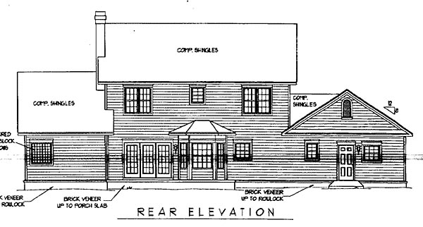 Country, Farmhouse House Plan 96870 with 4 Beds, 4 Baths, 2 Car Garage Rear Elevation