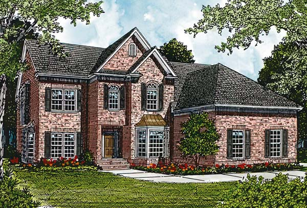 Traditional House Plan 97034 with 4 Beds, 4 Baths, 2 Car Garage Front Elevation