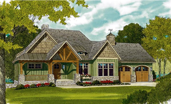 Bungalow, Cottage, Craftsman House Plan 97044 with 3 Beds, 4 Baths, 2 Car Garage Elevation