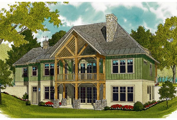 Bungalow, Cottage, Craftsman House Plan 97044 with 3 Beds, 4 Baths, 2 Car Garage Rear Elevation