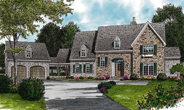 Cottage, European House Plan 97068 with 6 Beds, 6 Baths, 2 Car Garage Elevation