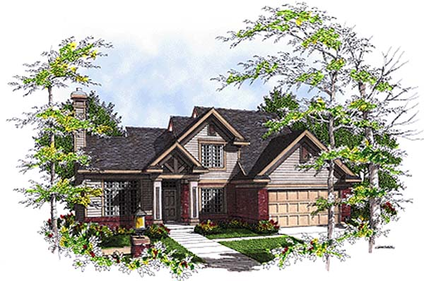 Bungalow, Country House Plan 97131 with 4 Beds, 3 Baths, 2 Car Garage Front Elevation