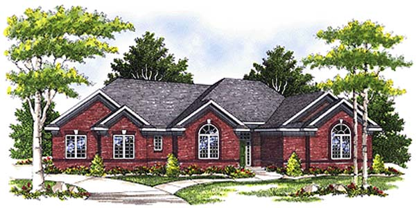 European, One-Story House Plan 97193 with 3 Beds, 3 Baths, 3 Car Garage Front Elevation