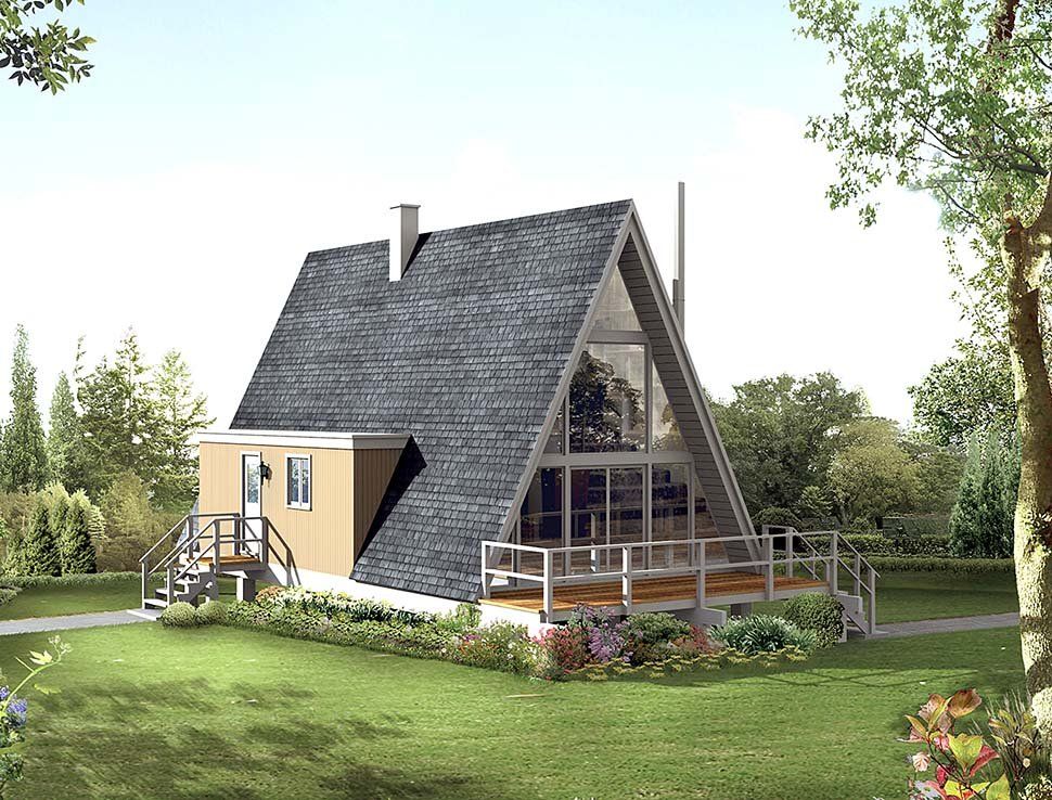 A-Frame, Contemporary House Plan 97236 with 2 Beds, 1 Baths Elevation