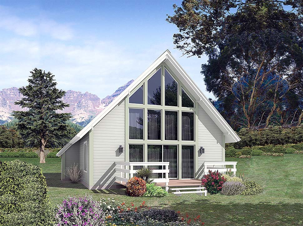 A-Frame, Contemporary, Traditional House Plan 97251 with 2 Beds, 1 Baths Front Elevation