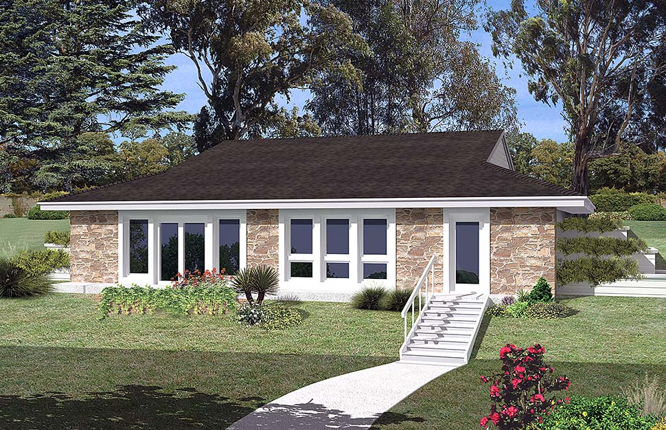 Contemporary, Earth Sheltered, European, French Country, Ranch House Plan 97253 with 3 Beds, 1 Baths Front Elevation