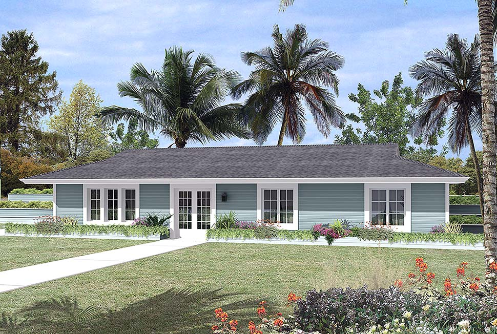 Contemporary, Earth Sheltered, Ranch House Plan 97254 with 3 Beds, 2 Baths Front Elevation