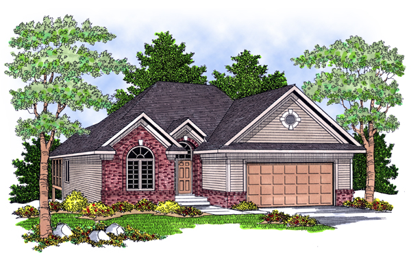 European House Plan 97386 with 3 Beds, 3 Baths, 2 Car Garage Elevation