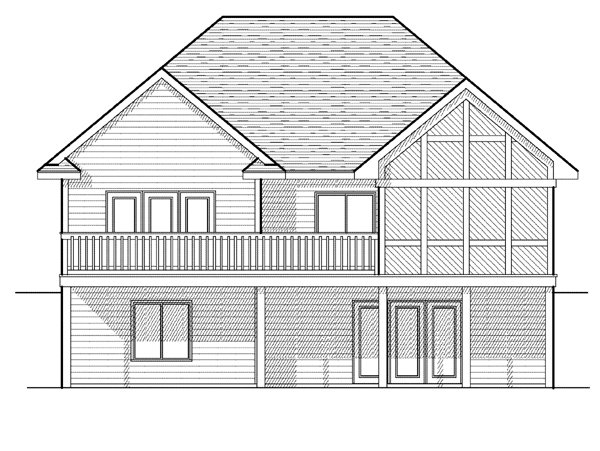European House Plan 97386 with 3 Beds, 3 Baths, 2 Car Garage Rear Elevation