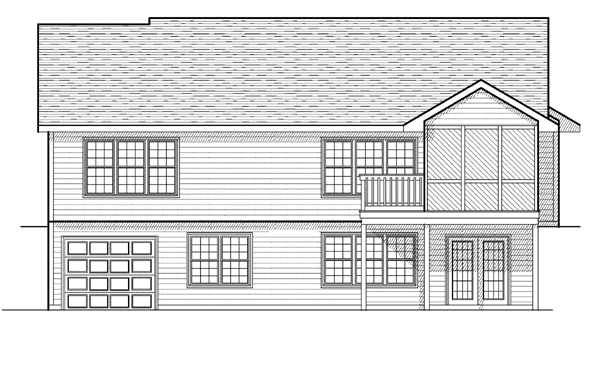 One-Story, Ranch House Plan 97387 with 4 Beds, 3 Baths, 2 Car Garage Rear Elevation