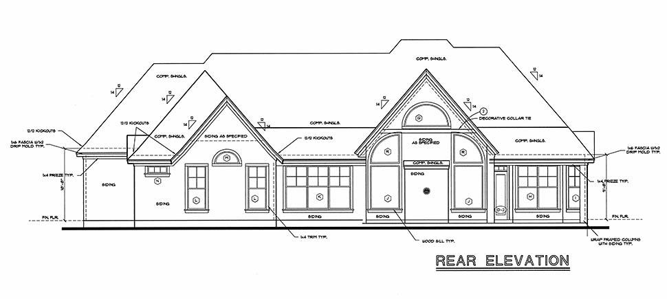 European House Plan 97406 with 4 Beds, 3 Baths, 2 Car Garage Rear Elevation