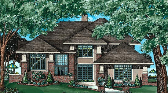 Contemporary, Prairie, Southwest House Plan 97487 with 4 Beds, 3 Baths, 2 Car Garage Elevation