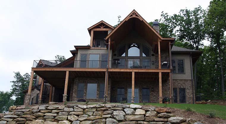 Cottage, Country, Craftsman, European, Tudor House Plan 97607 with 3 Beds, 3 Baths, 2 Car Garage Rear Elevation