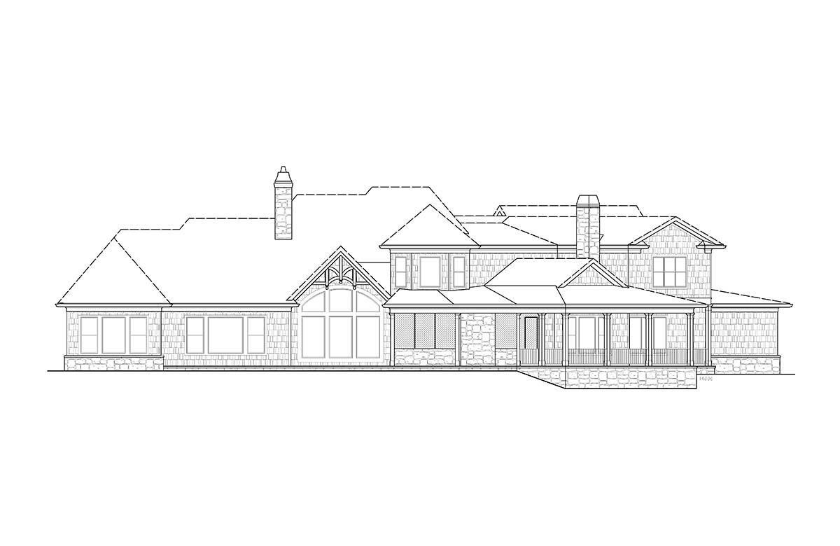 Craftsman House Plan 97636 with 4 Beds, 4 Baths, 4 Car Garage Rear Elevation