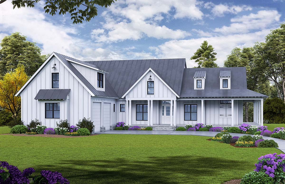 Farmhouse, Ranch House Plan 97638 with 3 Beds, 4 Baths, 2 Car Garage Elevation