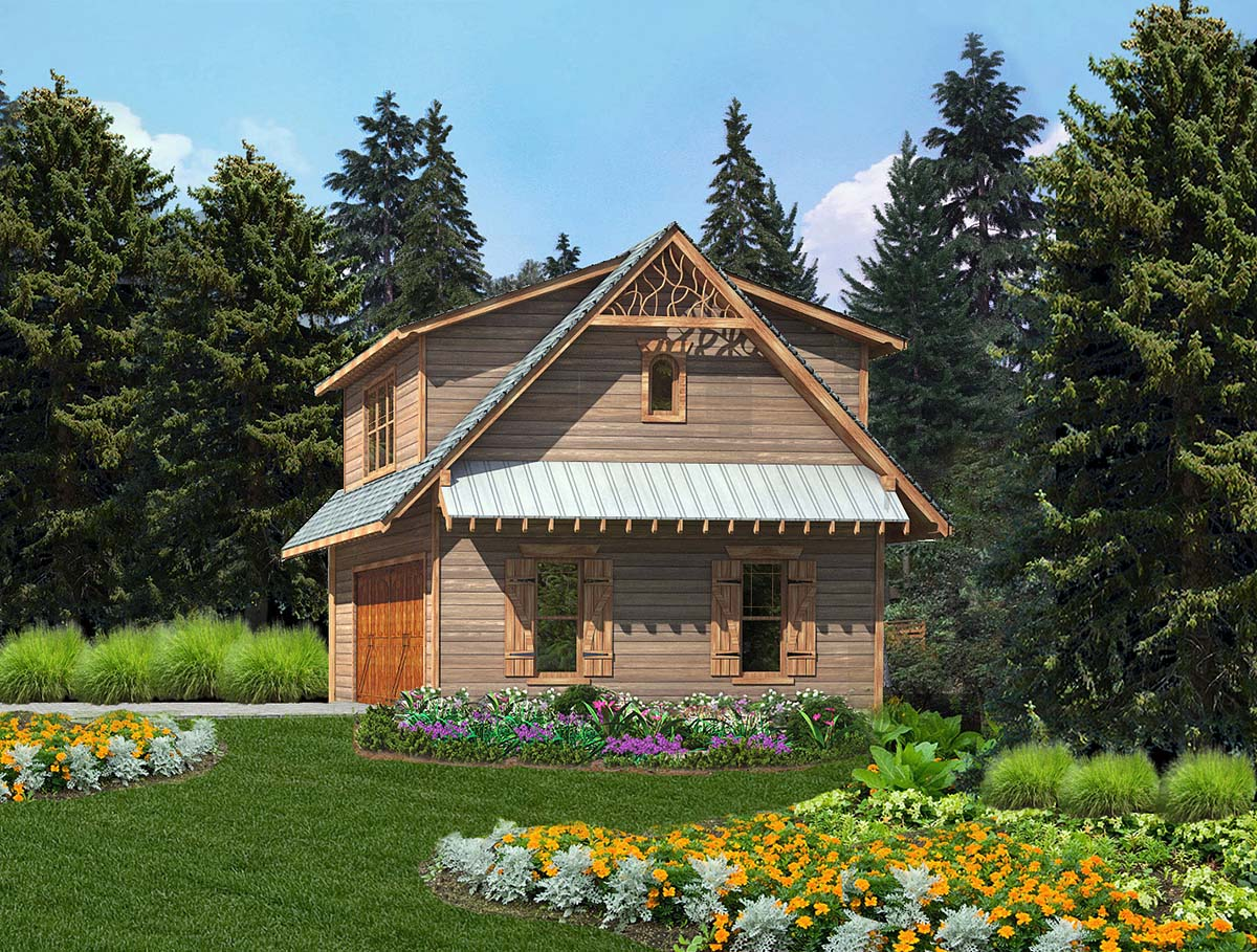 Cabin, Cottage, Craftsman 2 Car Garage Apartment Plan 97643 with 1 Beds, 1 Baths Front Elevation