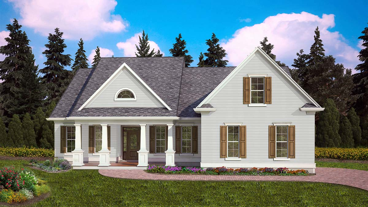 Cottage, Ranch, Traditional House Plan 97662 with 3 Beds, 2 Baths, 2 Car Garage Elevation
