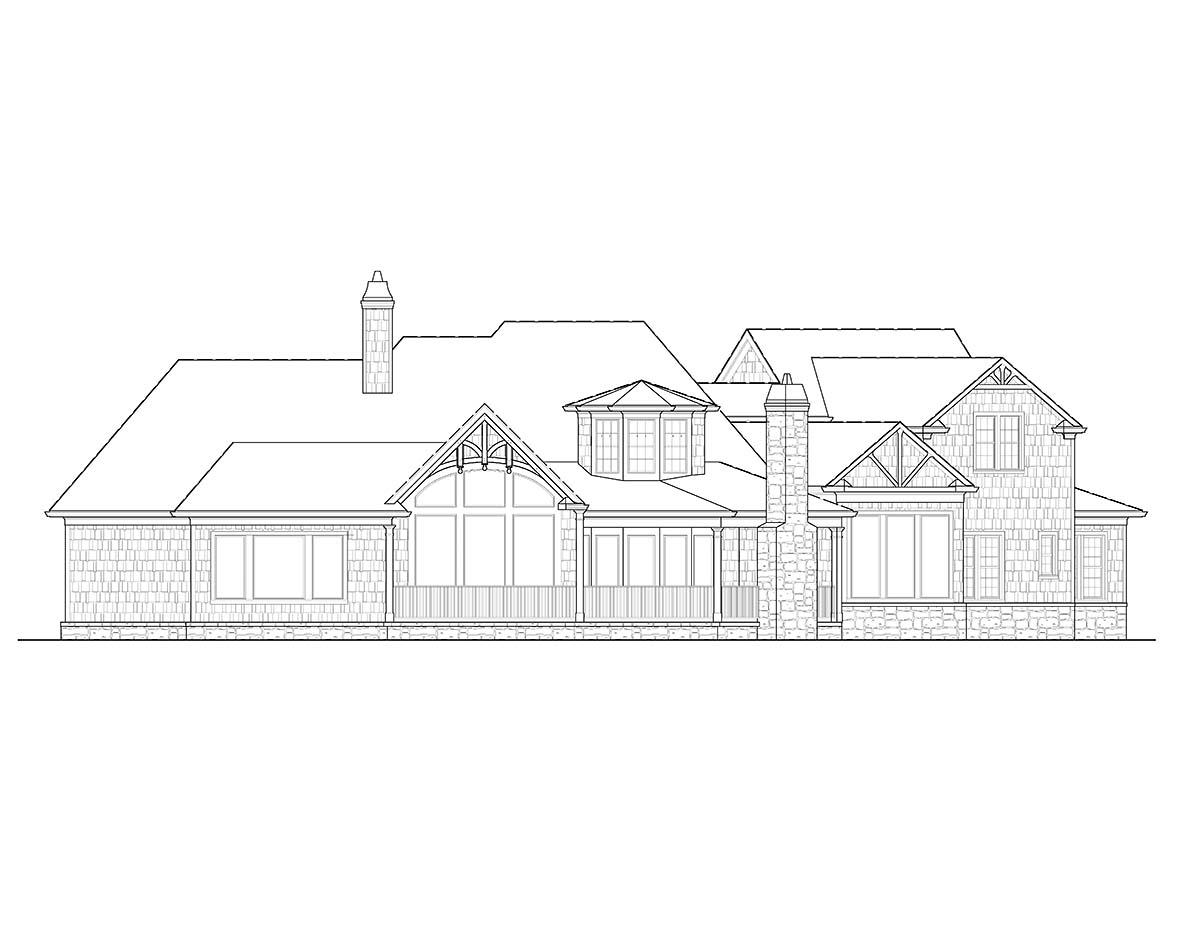 Cottage, Craftsman House Plan 97673 with 5 Beds, 6 Baths, 3 Car Garage Rear Elevation