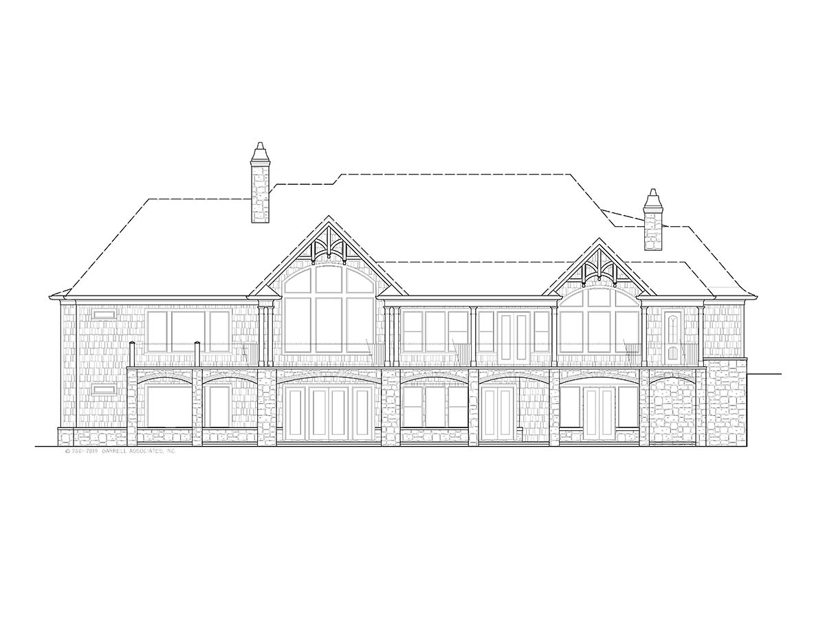 Country, Farmhouse, Southern House Plan 97677 with 4 Beds, 4 Baths, 3 Car Garage Rear Elevation