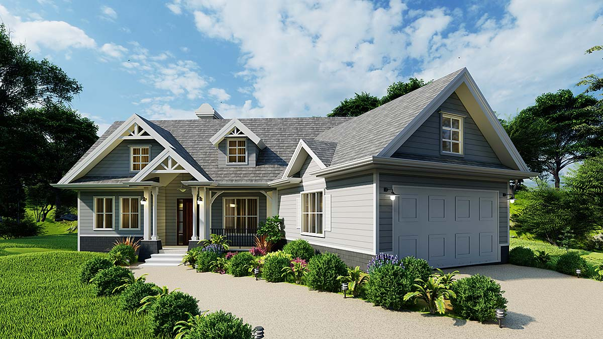 Cottage, Craftsman, One-Story House Plan 97683 with 3 Beds, 2 Baths, 2 Car Garage Elevation