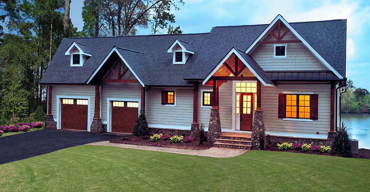 Craftsman, One-Story, Ranch, Traditional House Plan 97687 with 3 Beds, 3 Baths, 2 Car Garage Front Elevation