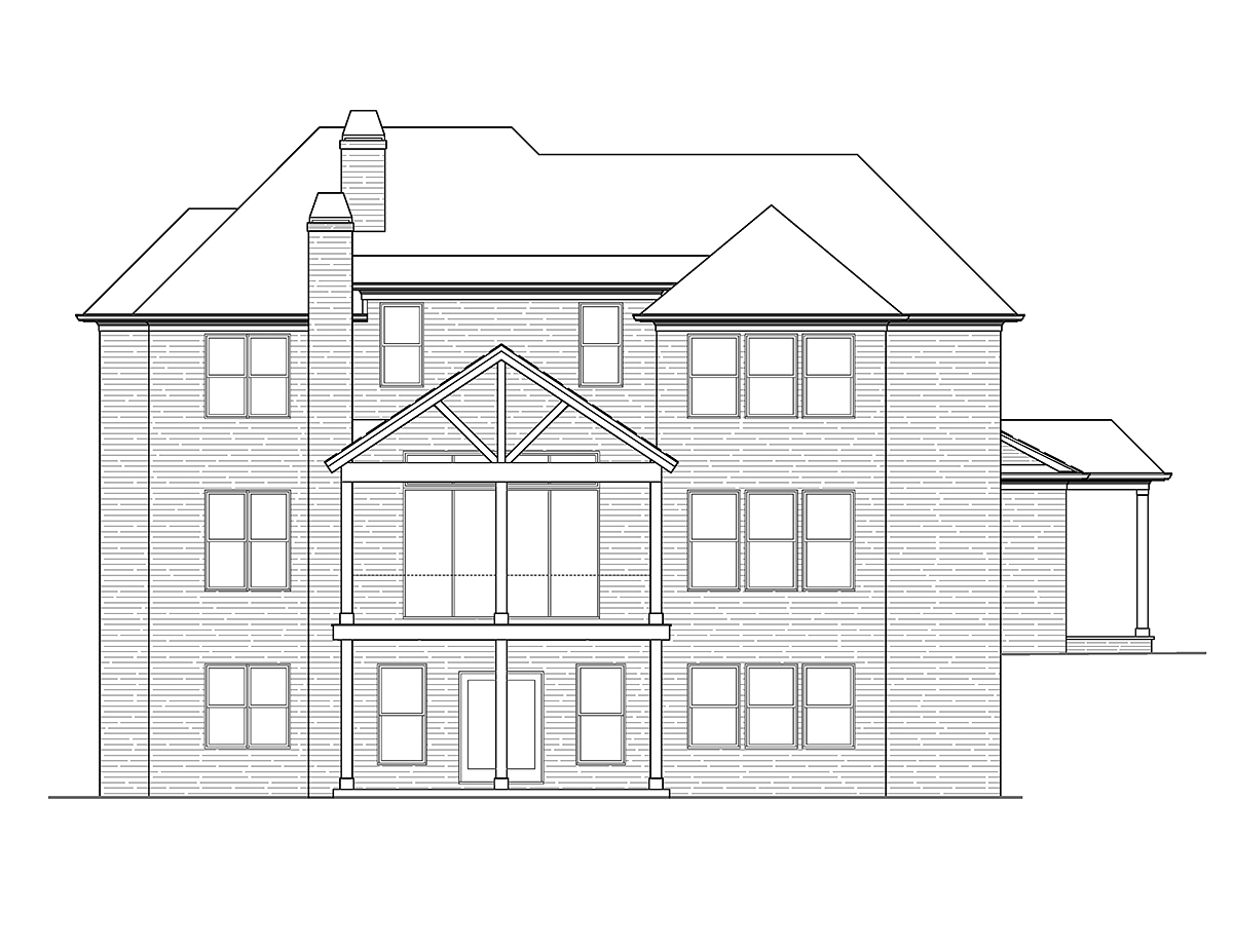 Country, French Country, Traditional House Plan 97691 with 4 Beds, 4 Baths, 2 Car Garage Rear Elevation