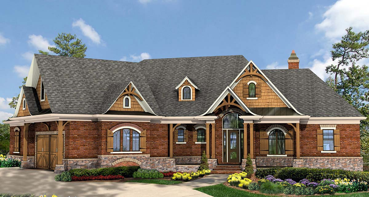 Craftsman, Ranch House Plan 97699 with 3 Beds, 4 Baths, 2 Car Garage Elevation