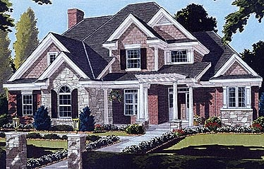Bungalow, European House Plan 97722 with 4 Beds, 4 Baths, 2 Car Garage Elevation