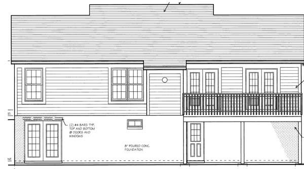 Bungalow House Plan 97730 with 3 Beds, 2 Baths, 2 Car Garage Rear Elevation
