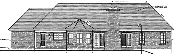 Traditional House Plan 97757 with 3 Beds, 2 Baths, 3 Car Garage Rear Elevation