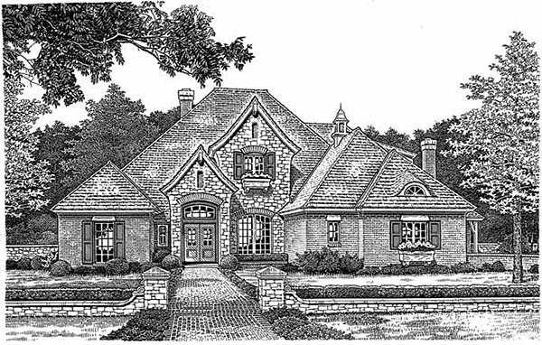European, Tudor House Plan 97801 with 4 Beds, 4 Baths, 3 Car Garage Elevation