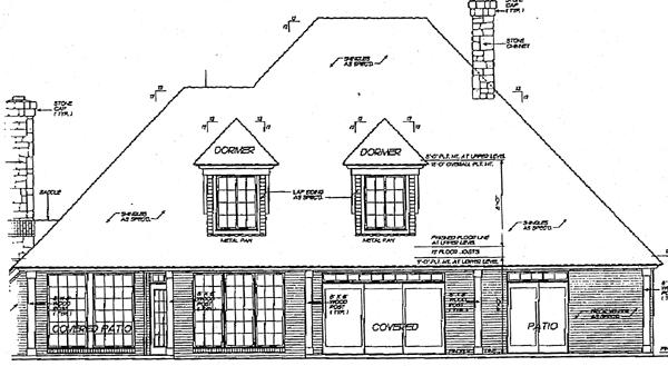 European, Tudor House Plan 97801 with 4 Beds, 4 Baths, 3 Car Garage Rear Elevation