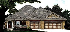Country, European House Plan 97824 with 3 Beds, 3 Baths, 3 Car Garage Elevation