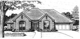 European, One-Story House Plan 97846 with 4 Beds, 3 Baths, 2 Car Garage Elevation